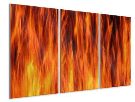 Metallic-Bild 3-teilig Feuer Close Up
