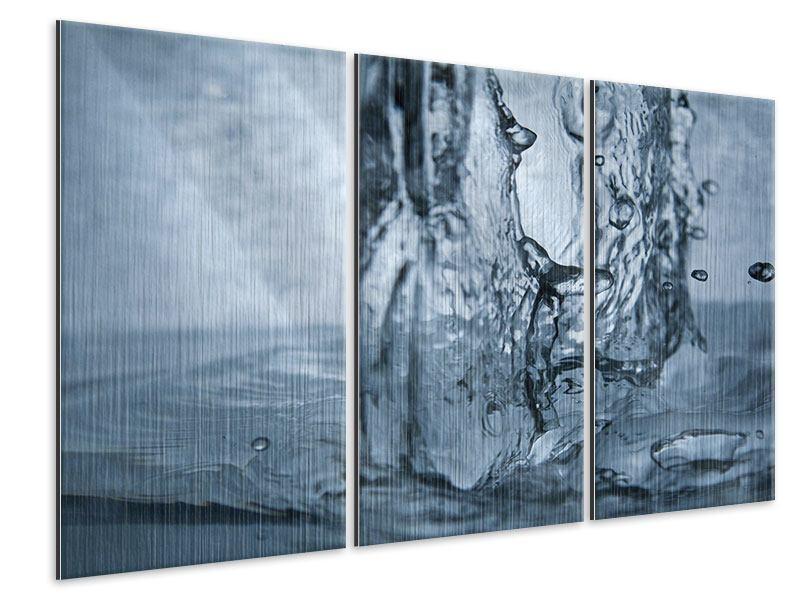 Metallic-Bild 3-teilig Wasserdynamik