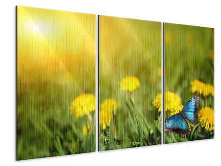 Metallic-Bild 3-teilig Der Löwenzahn und der Schmetterling