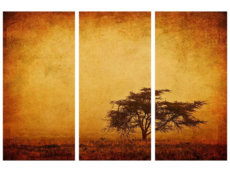 Metallic-Bild 3-teilig Sonnenuntergangsstimmung