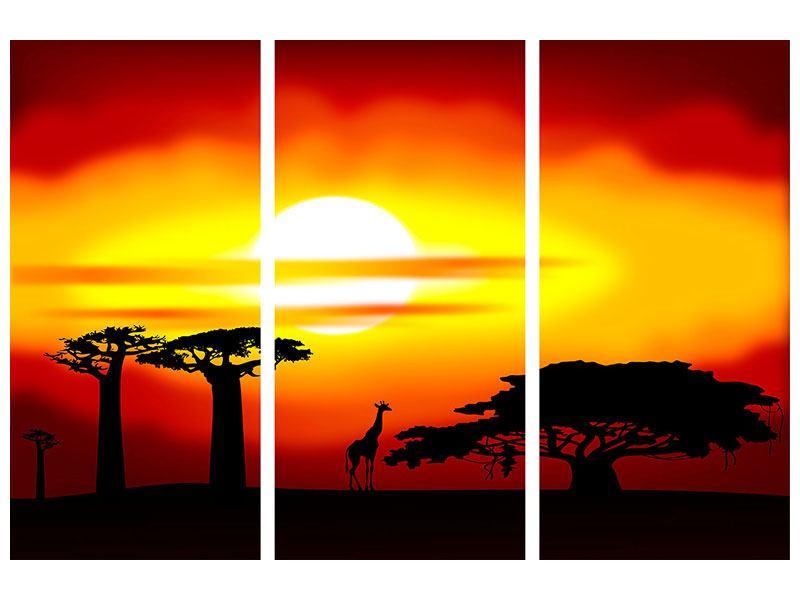 Metallic-Bild 3-teilig Faszination Afrika