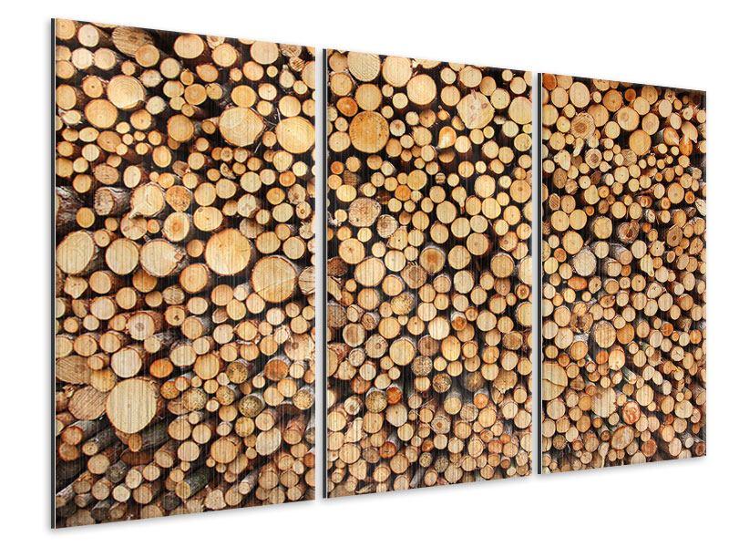 Metallic-Bild 3-teilig Holzstämme
