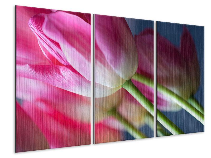 Metallic-Bild 3-teilig Makro Tulpen