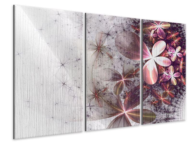 Metallic-Bild 3-teilig Abstrakte Blumen