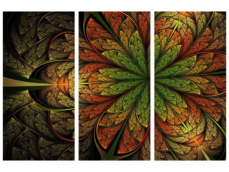 Metallic-Bild 3-teilig Abstraktes Blumenmuster