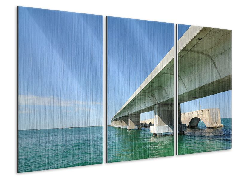 Metallic-Bild 3-teilig Seven Mile Bridge