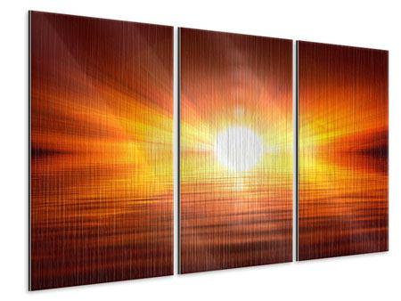 Metallic-Bild 3-teilig Glühender Sonnenuntergang
