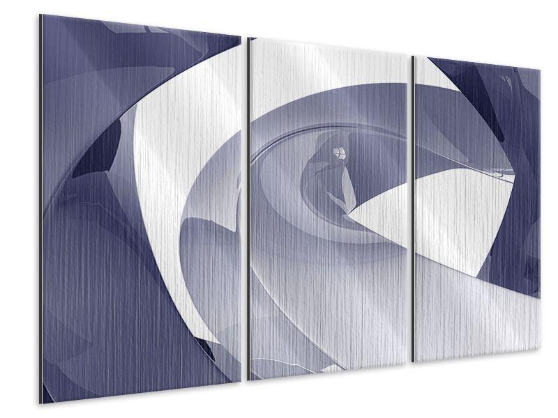 Metallic-Bild 3-teilig Abstrakte Schwingungen