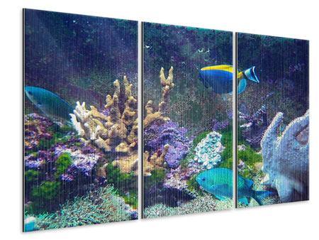 Metallic-Bild 3-teilig Fische