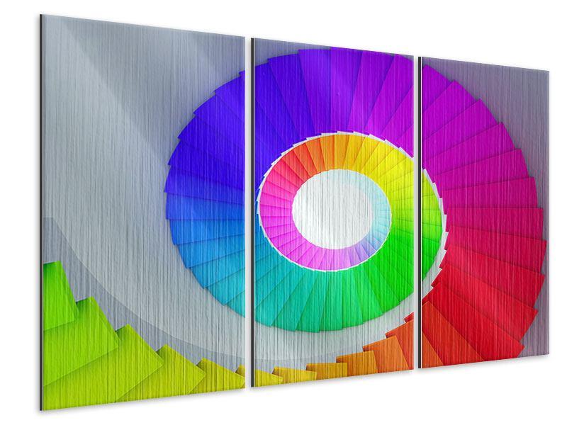 Metallic-Bild 3-teilig Bunte Wendeltreppe 3D