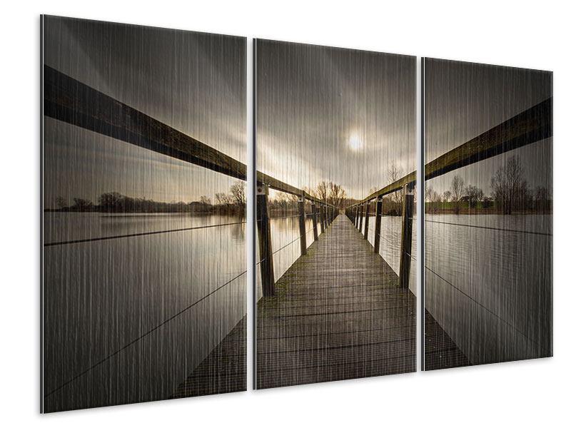 Metallic-Bild 3-teilig Die Holzbrücke