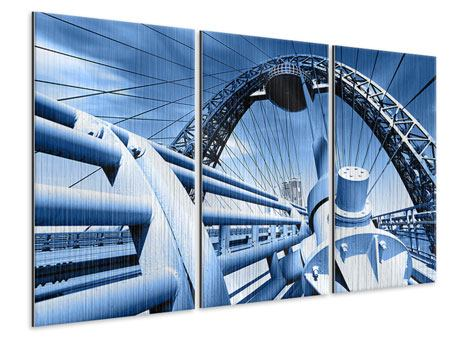Metallic-Bild 3-teilig Avantgardistische Hängebrücke