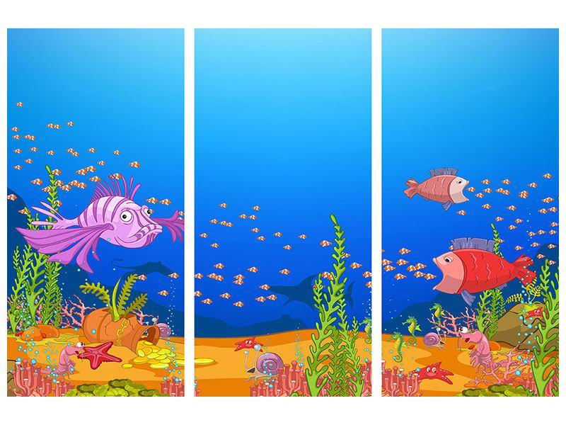 Metallic-Bild 3-teilig Der Schatz unter Wasser