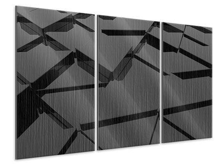 Metallic-Bild 3-teilig 3D-Dreiecksflächen