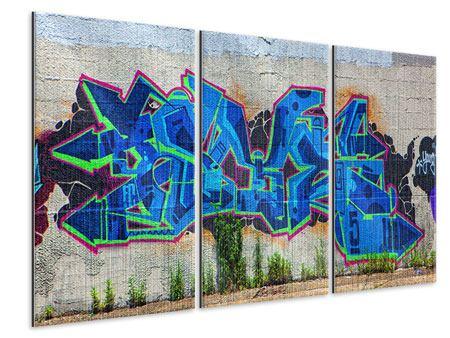 Metallic-Bild 3-teilig Graffiti NYC