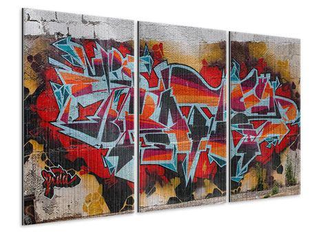 Metallic-Bild 3-teilig New York Graffiti