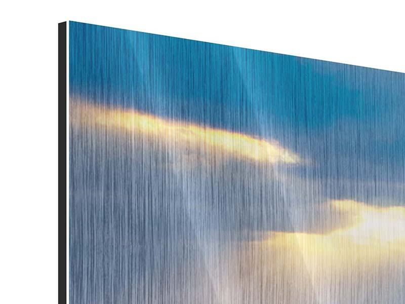 Metallic-Bild 3-teilig Der Lavendel und das Meer