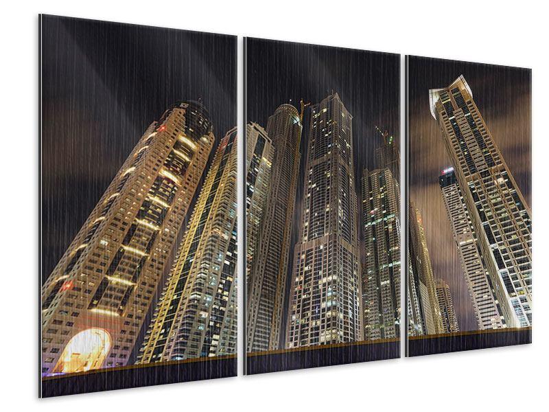 Metallic-Bild 3-teilig Wolkenkratzer Dubai Marina