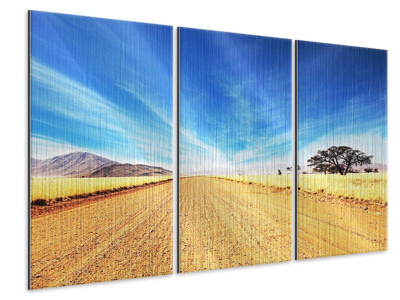 Metallic-Bild 3-teilig Eine Landschaft in Afrika