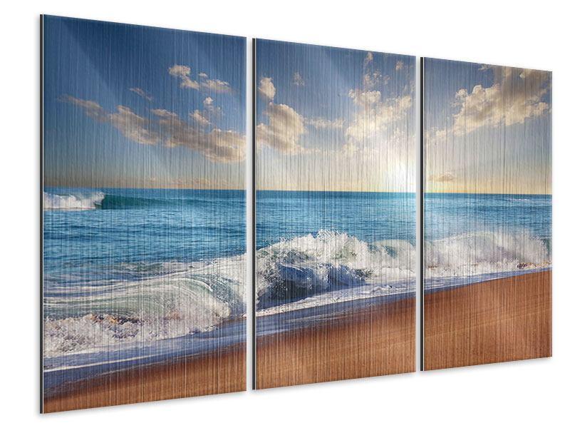 Metallic-Bild 3-teilig Die Wellen des Meeres