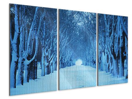 Metallic-Bild 3-teilig Winterbäume