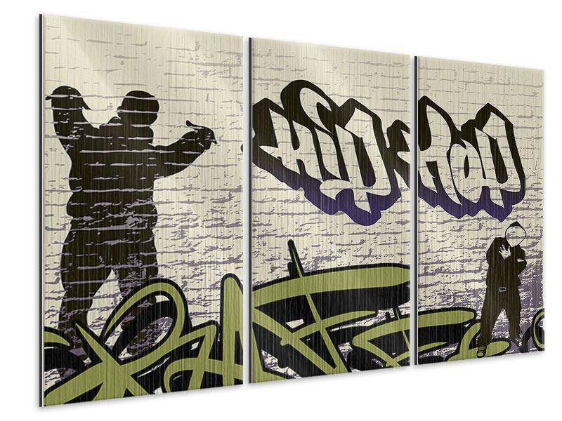 Metallic-Bild 3-teilig Graffiti Hip Hop