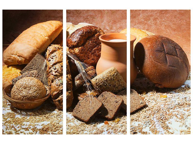 Metallic-Bild 3-teilig Frühstücksbrote