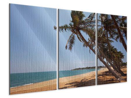 Metallic-Bild 3-teilig Palmblätter
