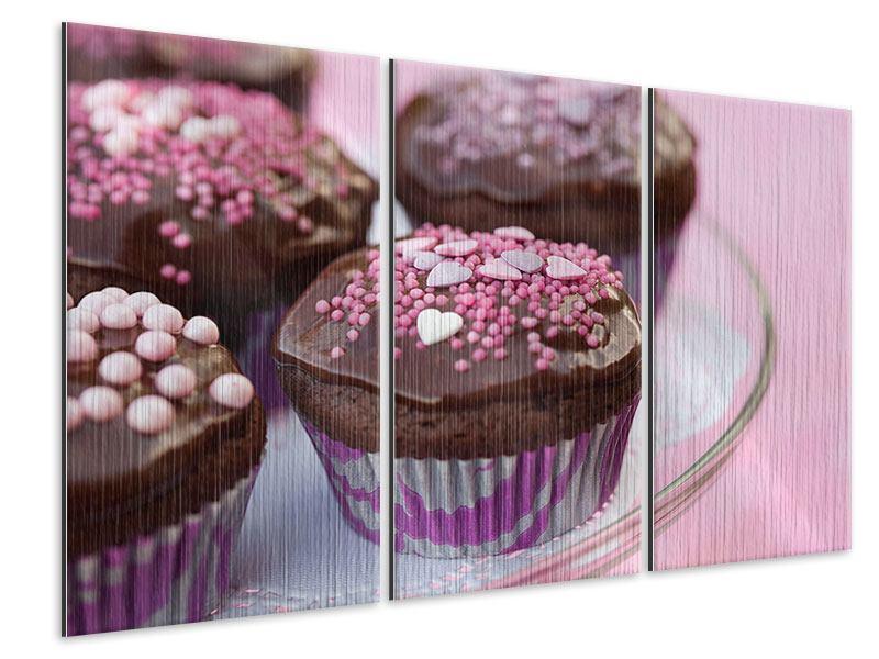 Metallic-Bild 3-teilig Muffins