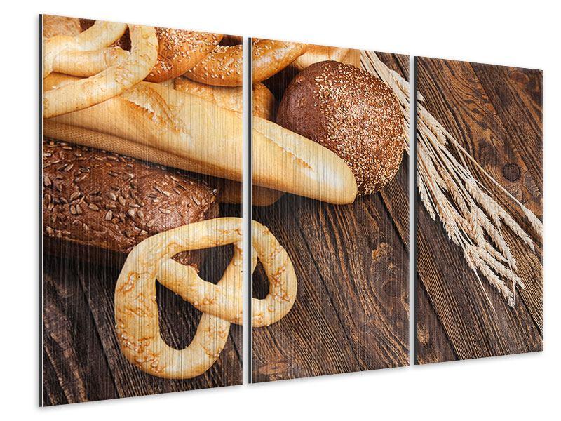 Metallic-Bild 3-teilig Brot und Bretzel