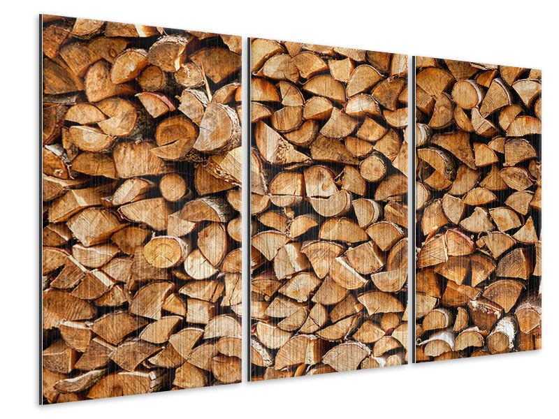 Metallic-Bild 3-teilig Gestapeltes Holz
