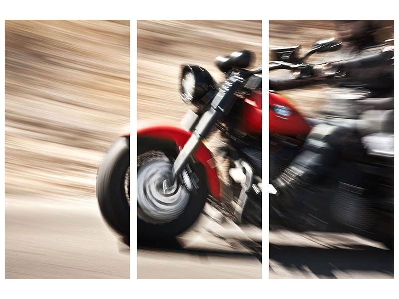 Metallic-Bild 3-teilig Biker
