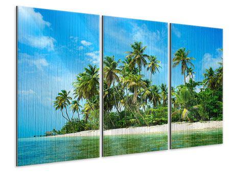 Metallic-Bild 3-teilig Reif für die Ferieninsel