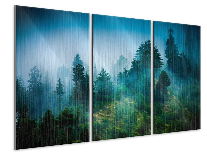 Metallic-Bild 3-teilig Geheimnisvoller Wald
