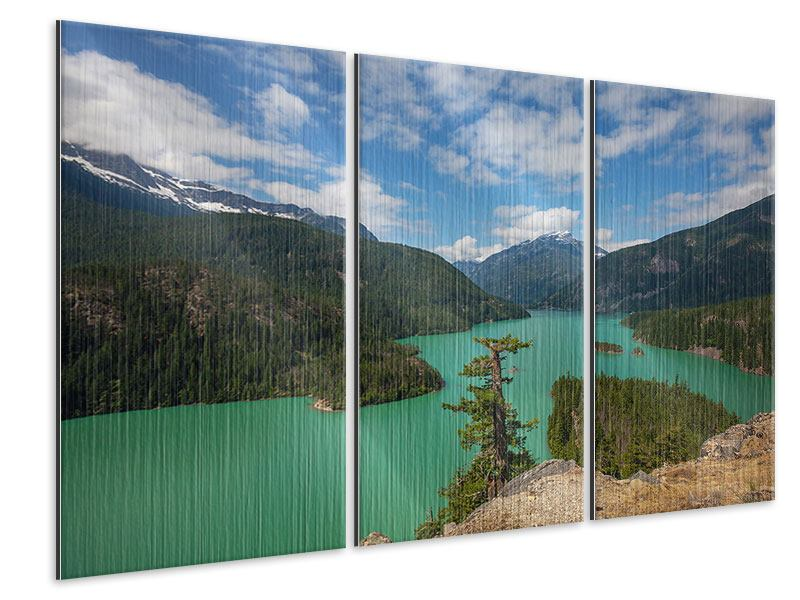 Metallic-Bild 3-teilig Diablo Bergsee