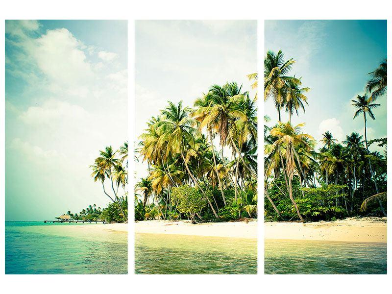 Metallic-Bild 3-teilig Tobago Cays