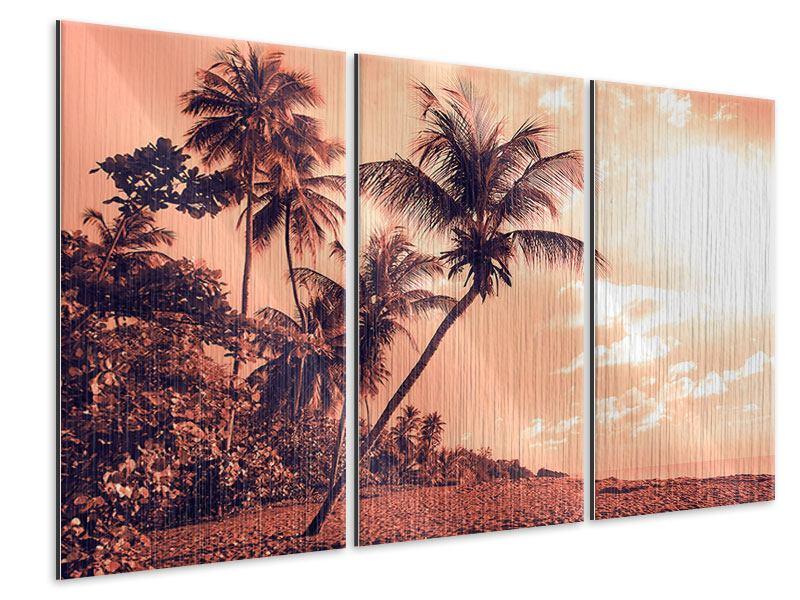 Metallic-Bild 3-teilig Tropenparadies