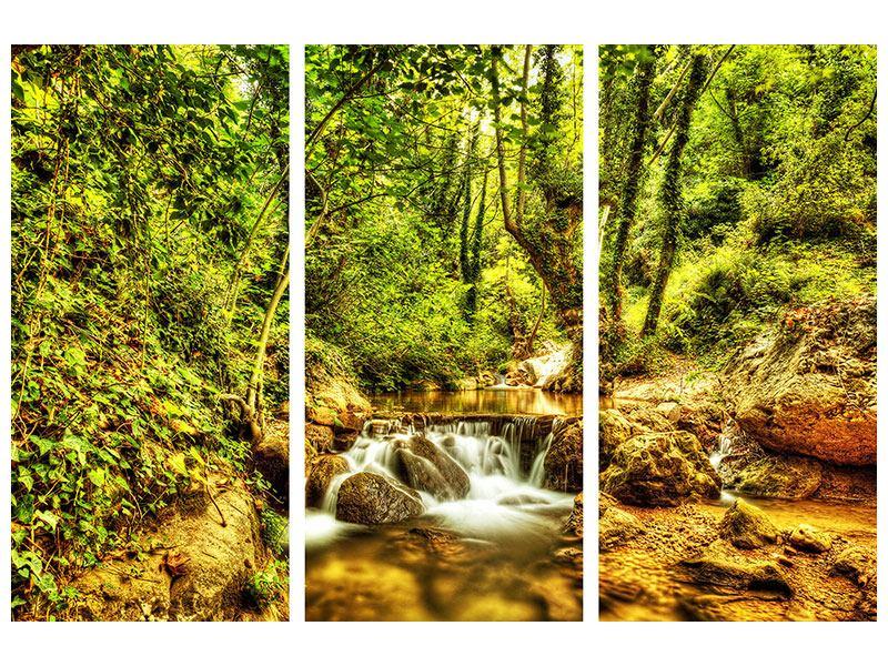 Metallic-Bild 3-teilig Wasserfall im Wald