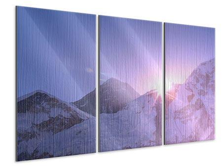 Metallic-Bild 3-teilig Sonnenaufgang beim Mount Everest