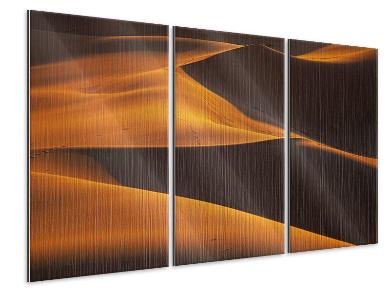 Metallic-Bild 3-teilig Wüstensand