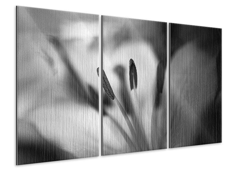Metallic-Bild 3-teilig Makro Lilienblatt