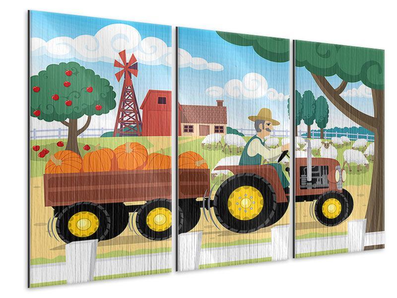 Metallic-Bild 3-teilig Bauernhof