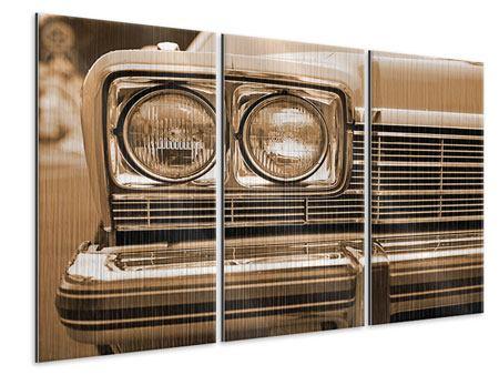 Metallic-Bild 3-teilig Oldtimer Close up