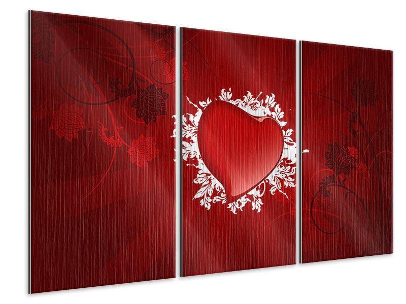 Metallic-Bild 3-teilig Flying Heart
