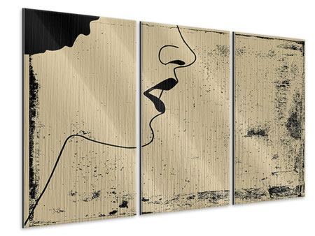 Metallic-Bild 3-teilig Frauenportrait im Grungestil