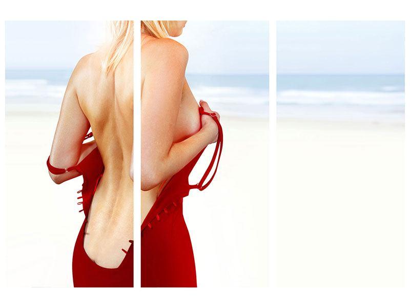 Metallic-Bild 3-teilig Rücken einer Schönheit