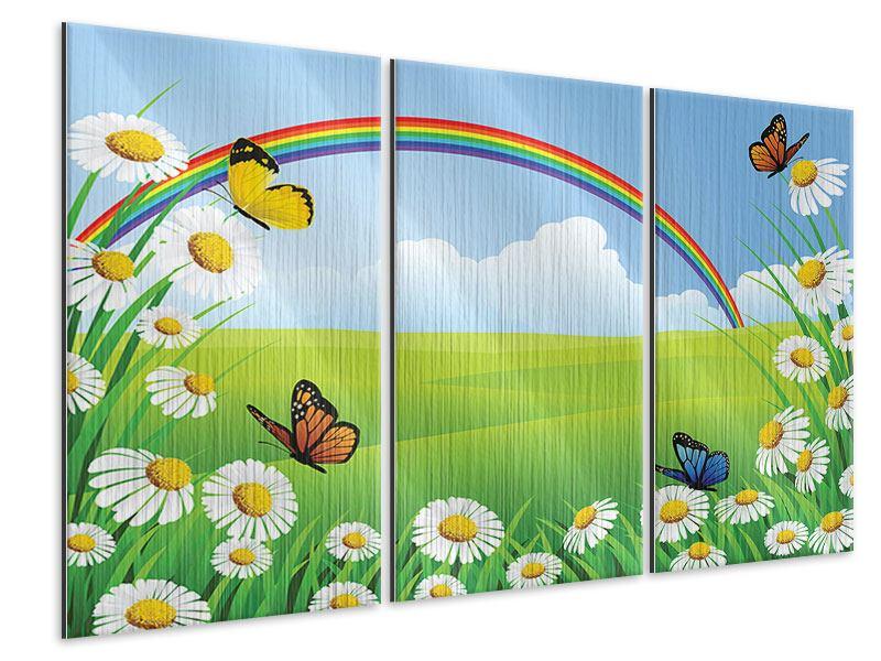 Metallic-Bild 3-teilig Der bunte Regenbogen