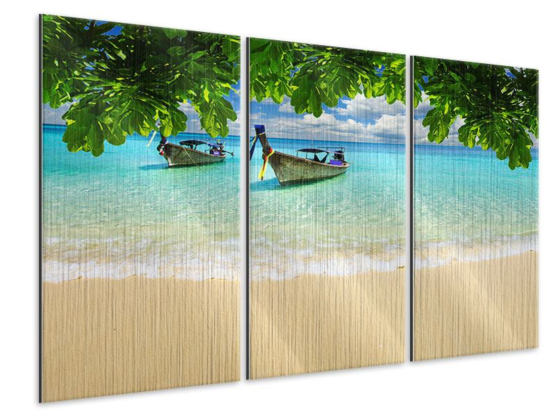 Metallic-Bild 3-teilig Ein Blick auf das Meer