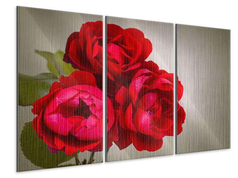 Metallic-Bild 3-teilig Drei rote Rosen