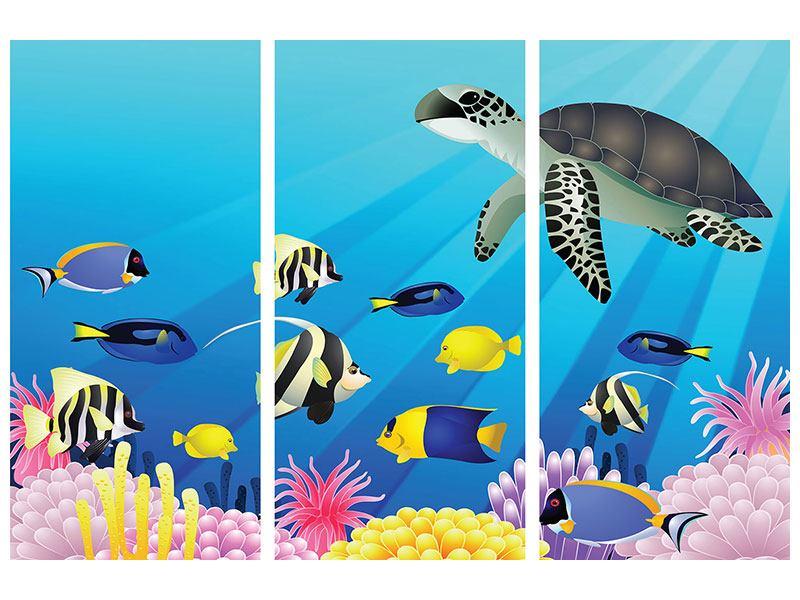 Metallic-Bild 3-teilig Kinder Unterwasserwelt